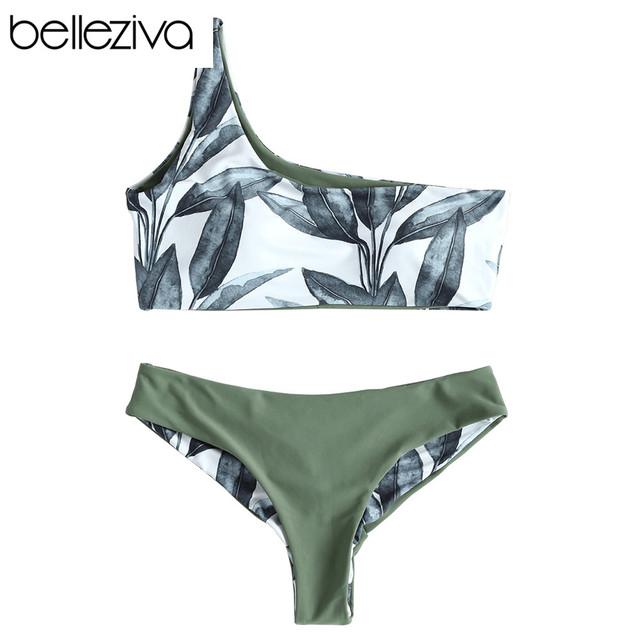 Belleziva Women New One Shoulder Leaves Print Bikini Sexy Low Waisted Swimwear Swimsuit Summer Beach Bikini 2018 Biquini