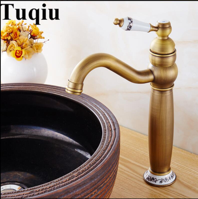 Basin Faucets Antique Bronze Solid Brass Bathroom Sink Faucet With Ceramic Single Handle Hole Wash basin Mixer Tap WC Taps single handle white ceramic bathroom faucet single hole wash basin faucets bathroom tap chorm brass water faucet for bathroom