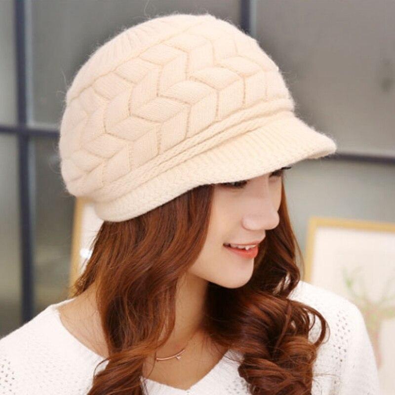 Women Winter Hats Femme Warm Wool Hat Women Knitted Hat Thick Skullies Beanies Beanie Girls Rabbit Bonnet For Women Ladies