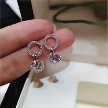 Silver Color  White  Circle Drop Dangle Earrings For Women New Trendy Lady Fashion Ear Piercing Jewelry pair of trendy solid color circle long earrings for women