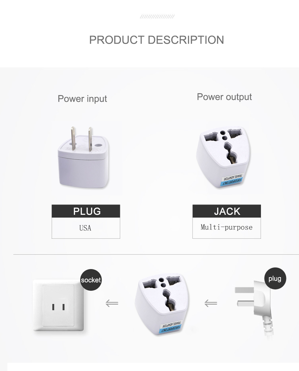 1PC New Arrivals EU UK AU to US Plugs adapter Power Converter Plugs 2 Pin Socket EU to America Travel Charger Adapter Converter (7)