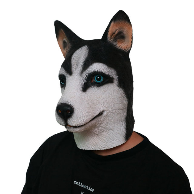 husky dog masks animal head full face dogs mask halloween party cosplay costume festival adult mask