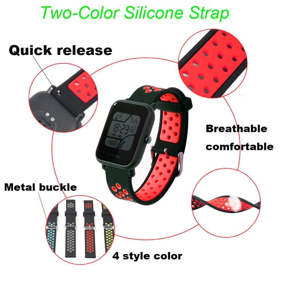 20mm Bracelet Strap For Xiaomi Amazfit Bip Watchband Amazfit GTS Watchstrap Amazfit GTR 42mm Silicone Band