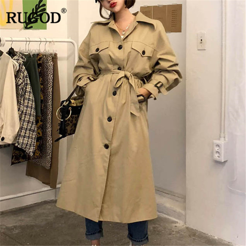 RUGOD 2019 New X-Long Women Coat Long Sleeve Casual Women Trench Coat Solid Warm Winter Clothes trench coat for women