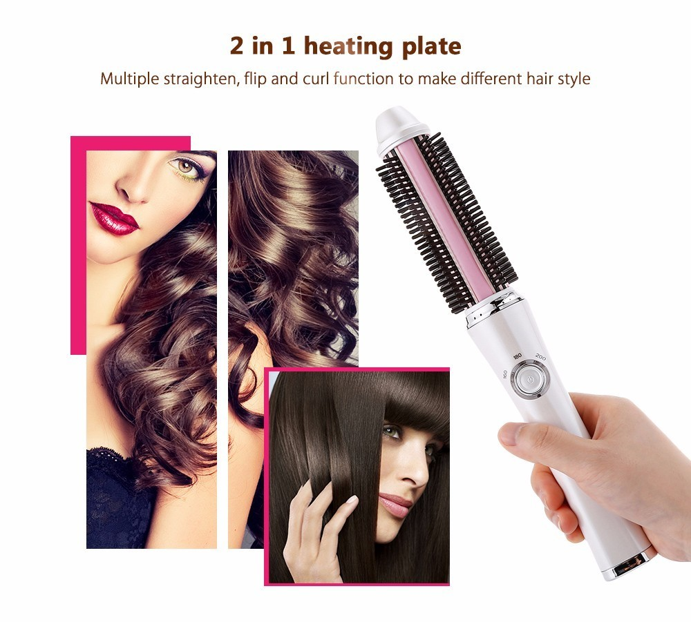 2 in 1 Ceramic Hair Curler Electric Comb Hairbrush Curling Hair Straightener Brush Straightening Iron Roller Styling Tools newview fordable hair brush electric multifunction hair curler curling iron hair straightener comb styling tools hairbrush