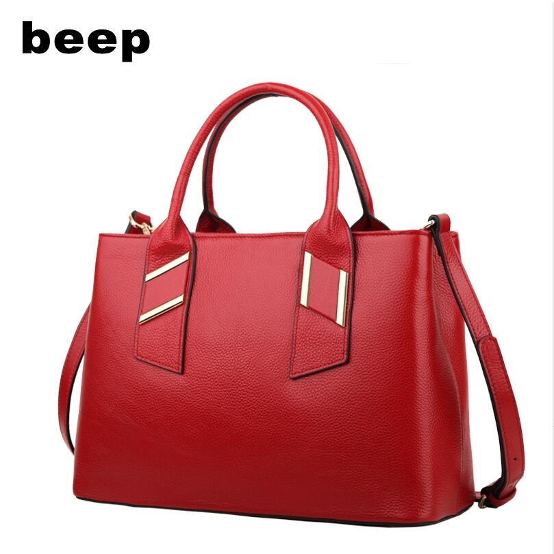 Beep Brand 2017 New Superior cowhide Luxury fashion Genuine Leather bag Killer bag tote women leather shoulder bag  women's bag beep beep go to sleep