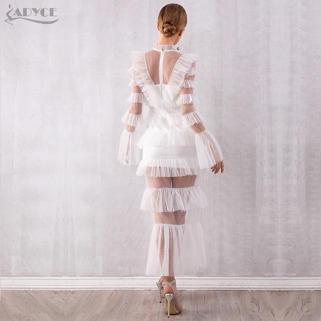 Adyce 2019 New Autumn Maxi White Fashion Women Dress Luxury Lace Ruffle Club Dress Vestidos Sexy Long Sleeve Evening Party Dress 5