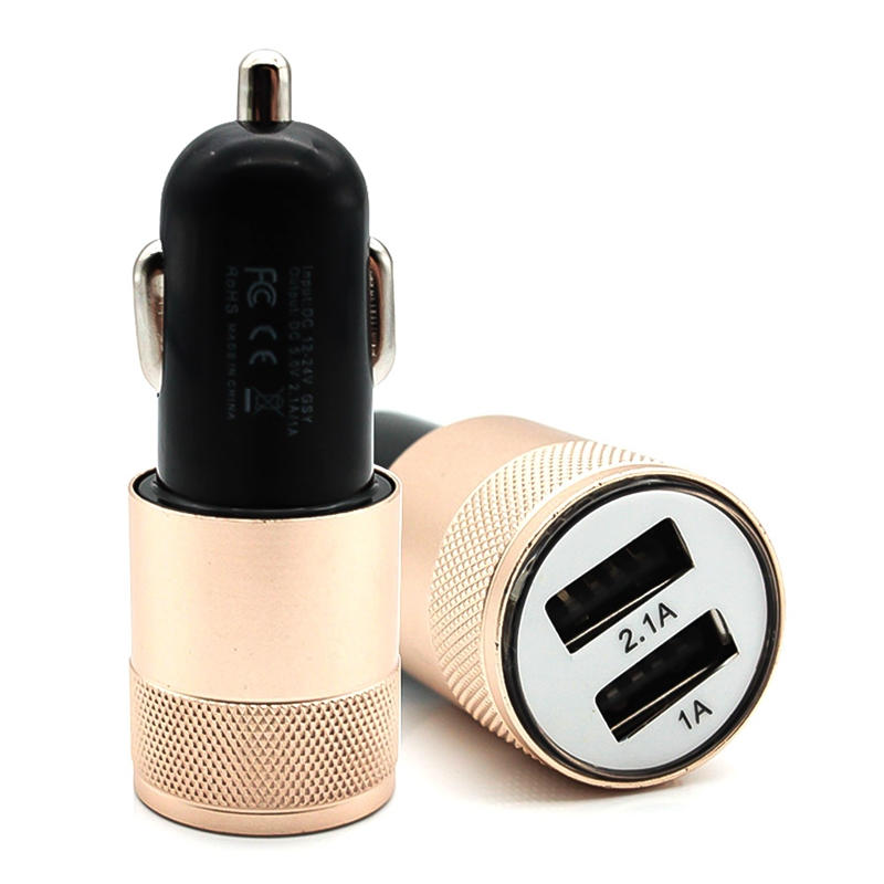 Small Double Steel  USB Car Charger Universal Mobile Phone Charging Flat Metal Head2.1A 220V Cigarette Lighter