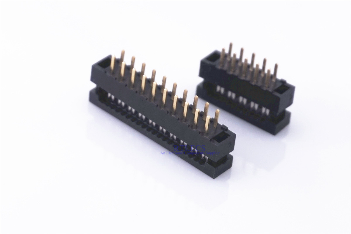 <font><b>50</b></font> pcs IDC Male Plug DIP FD Connector 2.0 mm Pitch 6 8 10 12 14 16 18 20 24 26 30 34 40 <font><b>50</b></font> 60 <font><b>Pin</b></font> <font><b>Flat</b></font> <font><b>Cable</b></font> 1.0mm Terminal image