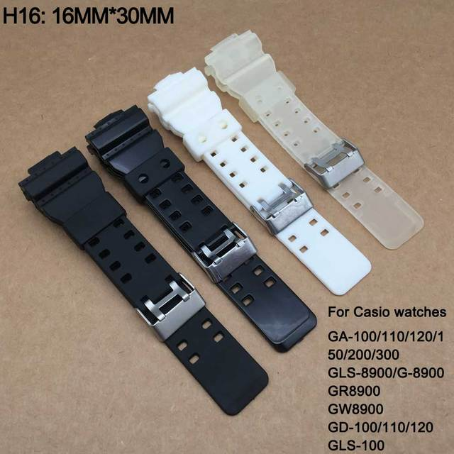 Watchband Silicone Rubber Band Men Sports Diving Black Strap For CASIO Replace E
