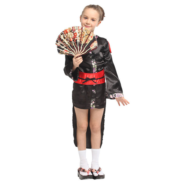Japanese Traditional Kimono Robe Kids Child Geisha Girl Costume Cosplay Halloween Carnival Mardi Gras Party Fancy Dress 1