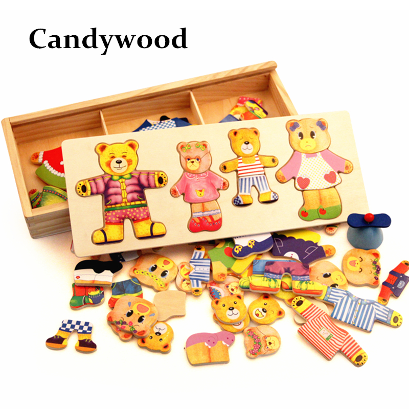 Wooden Bear Bytte Klær Classic Bear Familie Kjole Jigsaw Puzzle Children Educational Wooden Toy Kreative Tre Leker