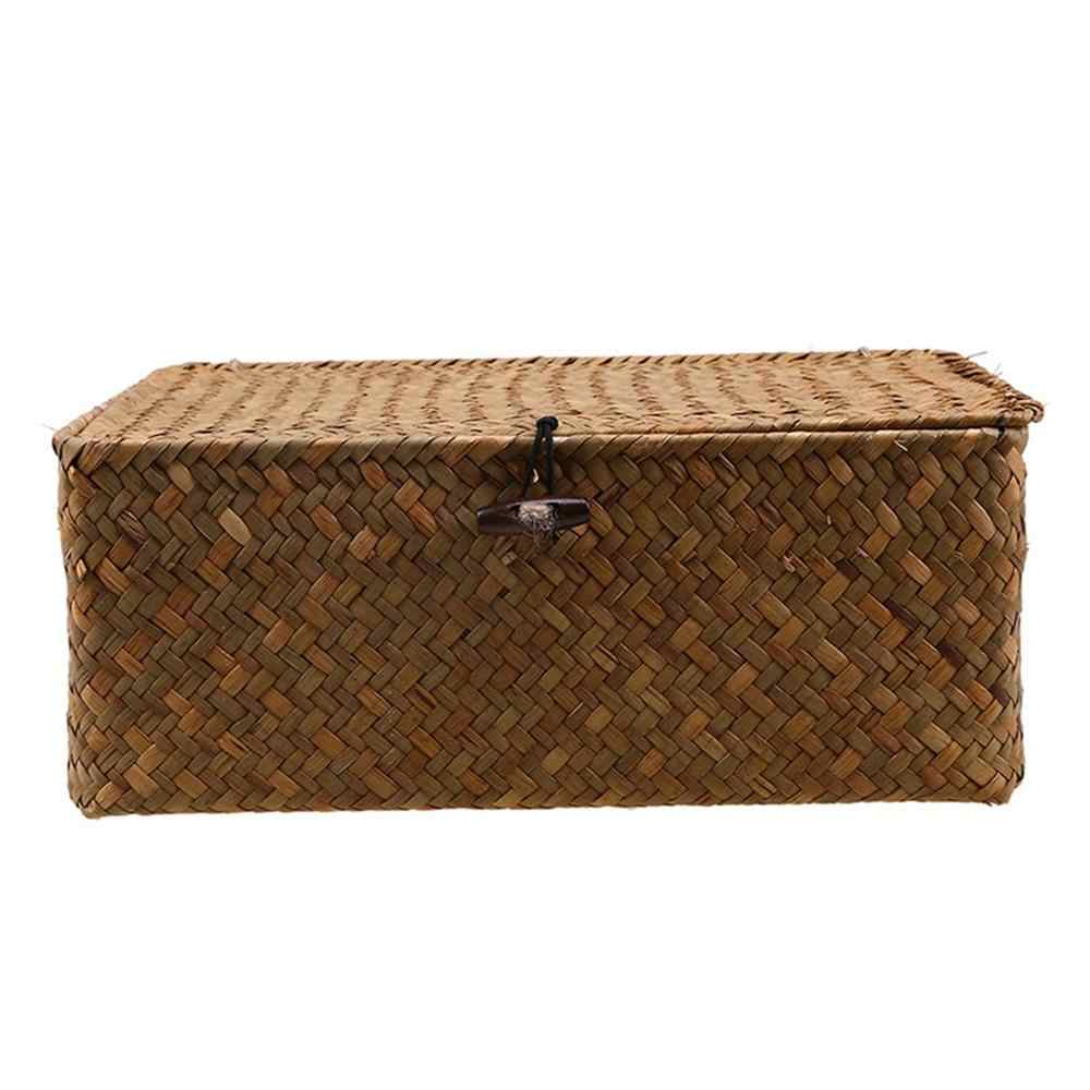 Seaweed Hand-Woven Storage Box Storage Box Desktop Sundries Storage Box Clothes Storage Basket Finishing Basket With Lid