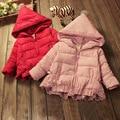 Зимняя куртка для девочек верхняя одежда с капюшоном на молнии с длинным рукавом насыщенный красный розовый толстый слой малыша девушки дети теплая одежда 2-5 Т