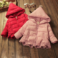 Winter Jacket For Girls Outerwear Hooded Zipper Long Sleeve Solid Red Pink Thick Coat Toddler Girl