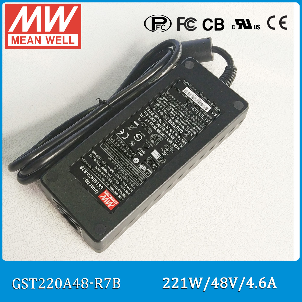 цена на Original Meanwell GST220A48-R7B 221W 48V 4.6A power supply AC/DC Level VI Mean well desktop Adaptor with PFC