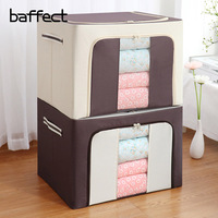 Household Foldable Clothes Storage Box With Cover Home Organizer Fabric Finishing Box Large Quilt Toy Clothes Storage Box
