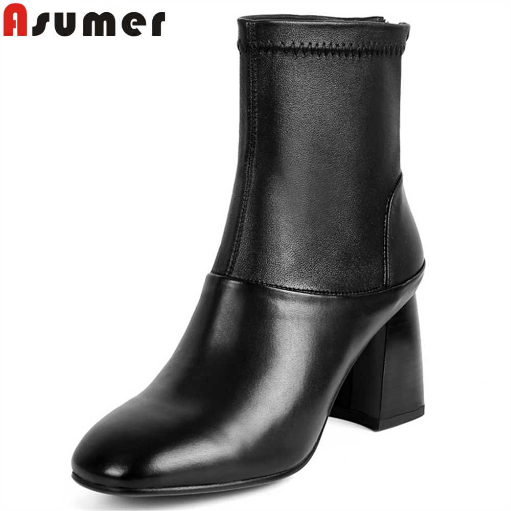 Фотография ASUMER black autumn winter new arrive women boots genuine leather boots square toe zipper sheepskin ankle boots fashion