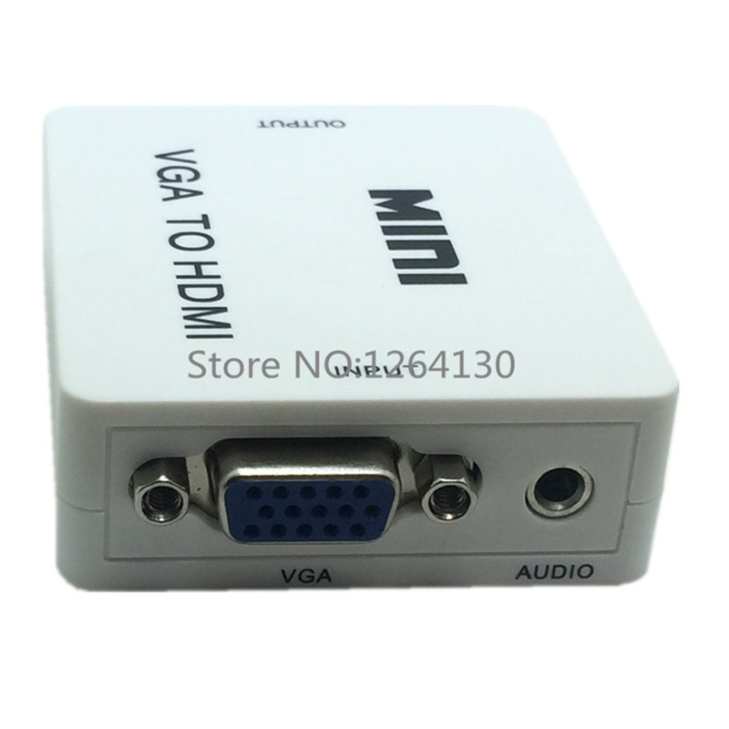 Mini Audio+VGA TO HDMI Adapter Video Converter cable Built-in Chipset 1080P VGA to HDMI for PC laptop to HDTV Projector