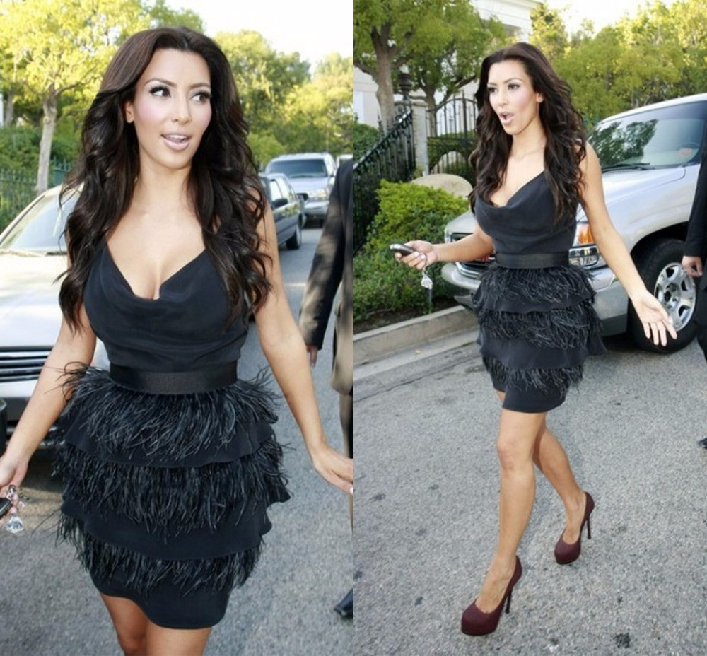 Kim-Kardashian-Dresses-Black-V-Neck-Sleeveless-With-Feathers-Tiered-Short-Bandage-Celebrity-Dress-2016-High (1)