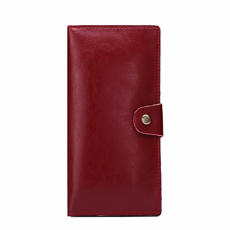 MAIFEINI New Genuine Leather Long Wallet Women Real Leather Card Holder Coin Purse Sexy Ladies Bifold Leather Clutch Bag