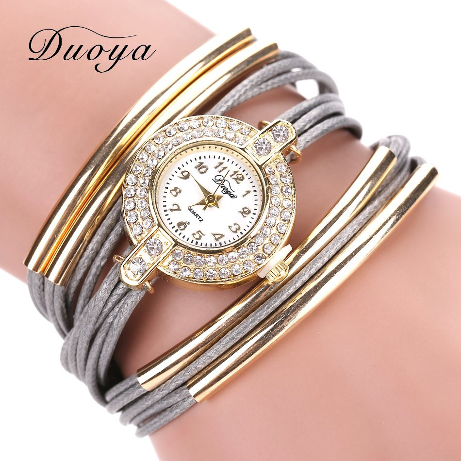 Duoya Brand Luxury New Leather Casual Vintage Crystal Quartz Wristwatch Dress Bracelet Watch Fashion Women Gold Classic Watches duoya brand bracelet watches for women luxury gold crystal fashion quartz wristwatch clock ladies vintage watch dropshipping