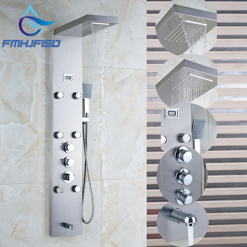Thermostatic Brushed Nickel Waterfall Rain Shower Column Jets Tub Spout W/ Hand Shower Faucet for Bathroom brushed nickel thermostatic shower mixer panel wall mount stainless steel rain waterfall with massage jet shower column