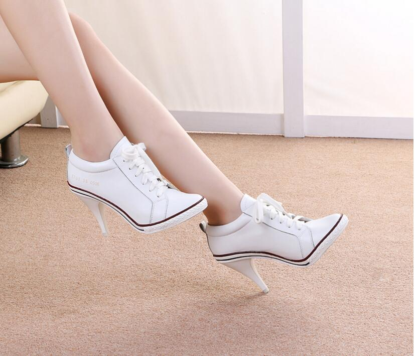 Kaeve New Black White Leather Cross-tied Women's Shoes Thin Heels Round Toe High-heels Spring/Autumn Lace Up Ladies Shoes kaeve blue denim lace up ankle boots fashion casual thin heels cross tied pumps round toe cowboy shoes jean snow boots