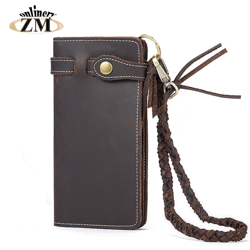 ZMonlinery genuine leather men's wallets Anti-theft Vintage long purse solid wallet for men with card holder zipper poucht brand double zipper genuine leather men wallets with phone bag vintage long clutch male purses large capacity new men s wallets