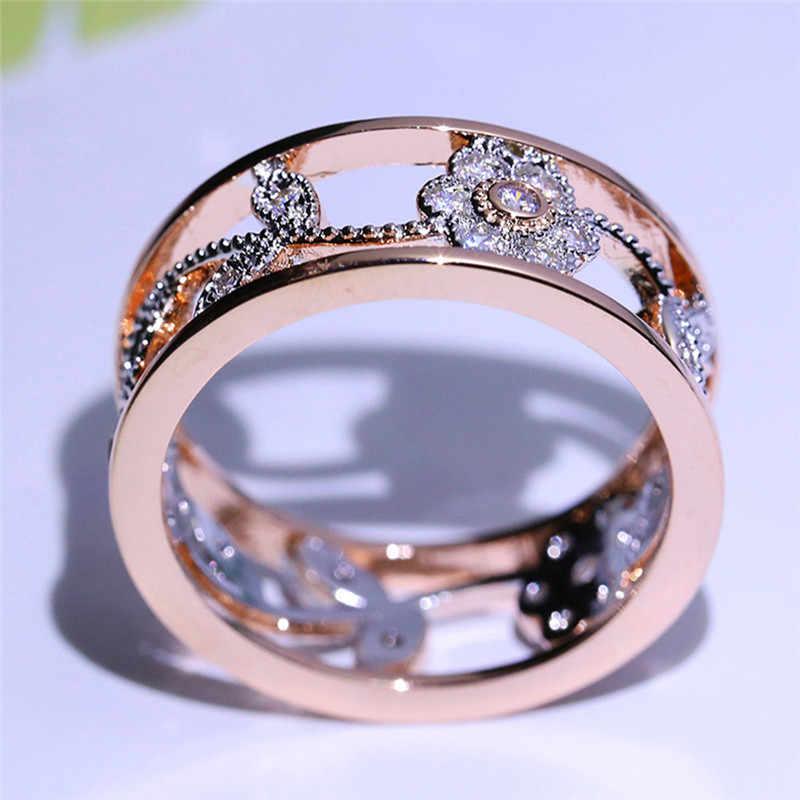54db95050bdb New Style Flower Leaf Hollow Design Crystal Rose Gold Rhinestone Ring ...