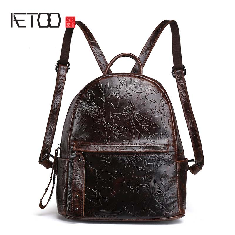 AETOO Genuine Leather Women Embossed Rucksack First Layer Cowhide Daypack Casual School Book Bag Knapsack Famous