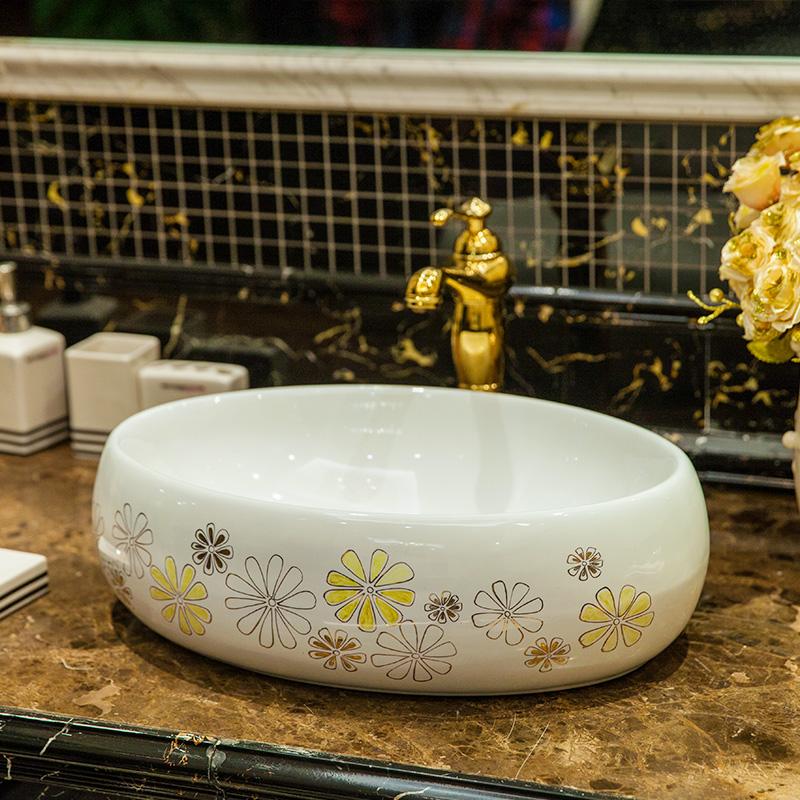 Small oval Shape Countertop Ceramic wash basin Bathroom Sink china art basin (2)