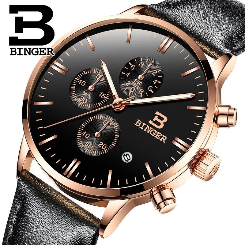 Prix pour Suisse BINGER Montres Chronographe Hommes Montres Sport Quartz Montre De Luxe Marque Montre Hommes 2016 Noir Bracelet En Cuir B-9201M