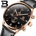 Suiza BINGER Relojes Cronógrafo Relojes de Los Hombres Deportes Reloj de Cuarzo Correa de Cuero Marca de Relojes de Lujo Hombres 2016 Negro B-9201M