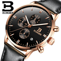 Switzerland BINGER Watches Chronograph Men Watches Sports Quartz Watch Luxury Brand Watch Men 2016 Black Leather Strap B-9201M