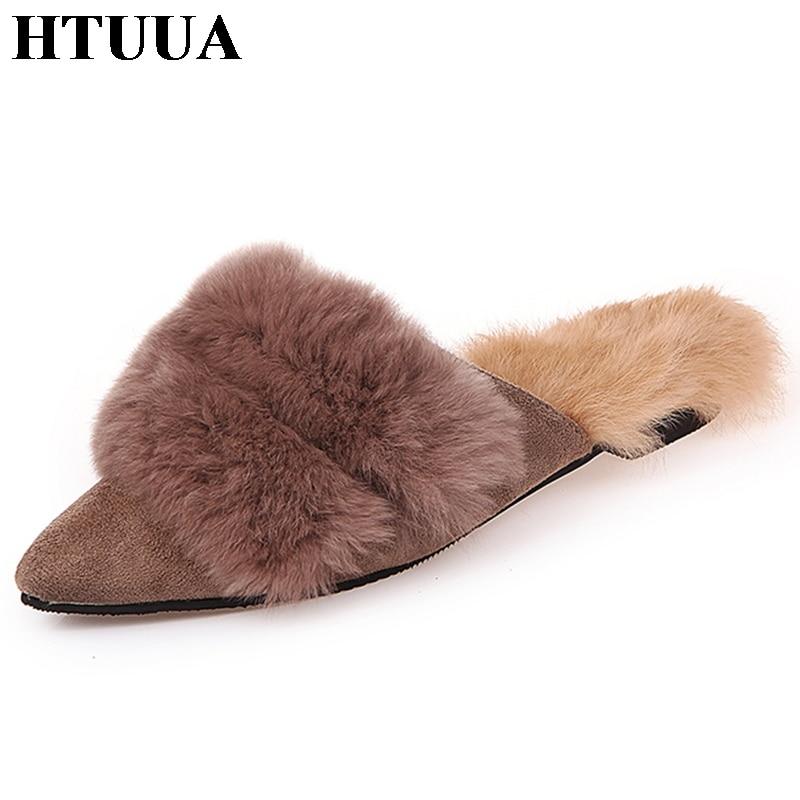 HTUUA Indoor Slippers Mules-Shoes Fur Slides Flat Women Plush-House Winter Ladies Warm