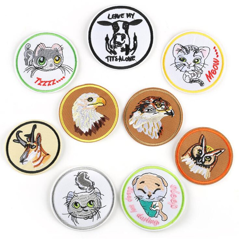 Circular Animal Cat Patch Repair Embroidered Badge Patches For Clothing Iron On For Close Shoes Bags Badges Embroidery in Patches from Home Garden