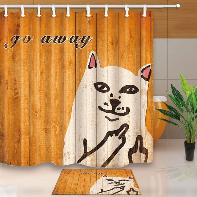 Quotes Decor Cat On Orange Wooden With Word Go Away Waterproof Polyester Fabric Shower Curtain Set