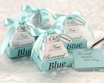 A Cute Twist On The Traditional Wedding Phrase Something Old New Borrowed Blue These Stacks Of Gift Bo In White