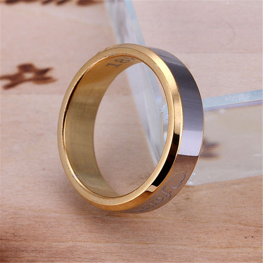 gold color new listing tide boys always love steel ring punk style ...