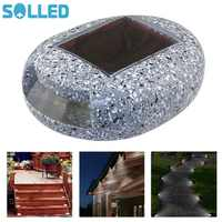 SOLLED Resin Stone Shape Solar Pin Lamp Path Road Lights Marker Lighting Waterproof Outdoor Home Garden Yard Light Decoration