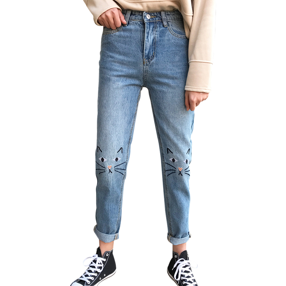 BONJEAN New Arrival Women Jeans Cat Embroidery Casual Harem Denim Pants 2017 Female Full Length Fashion Jeans Bottoms Pants 2017 new korean casual cat embroidery loose jeans pants