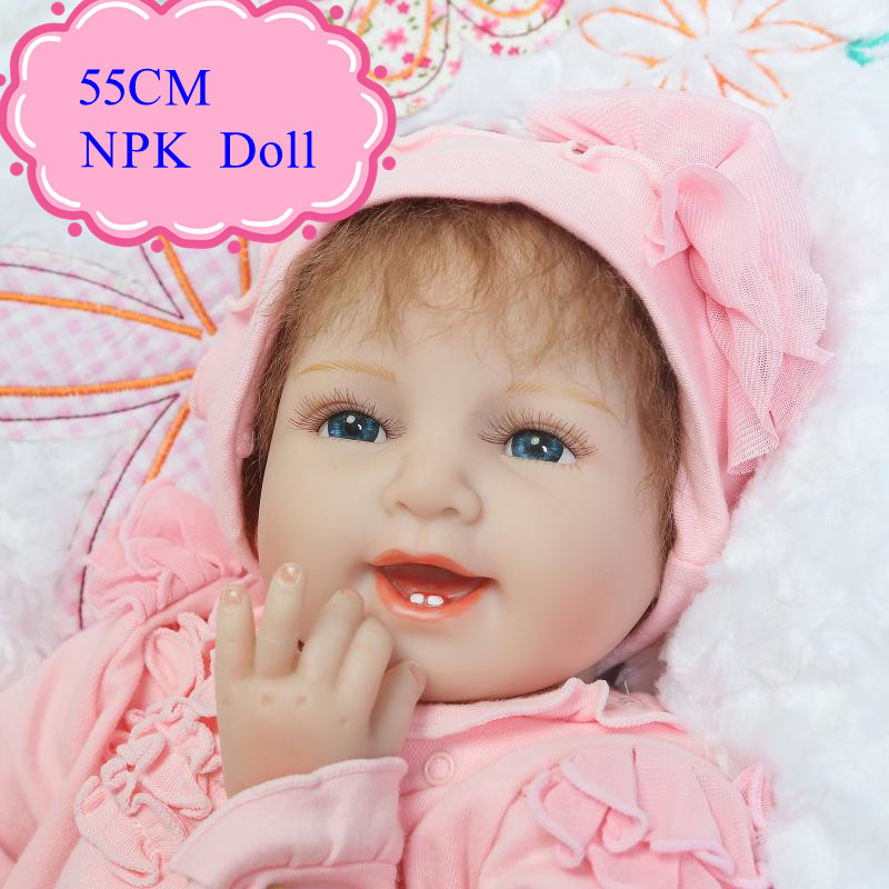 Newest NPK About 55CM Soft Reborn Baby Doll With Pink Rompers Realistic 22inch Bebes Silicone 22inch Good Price Doll about