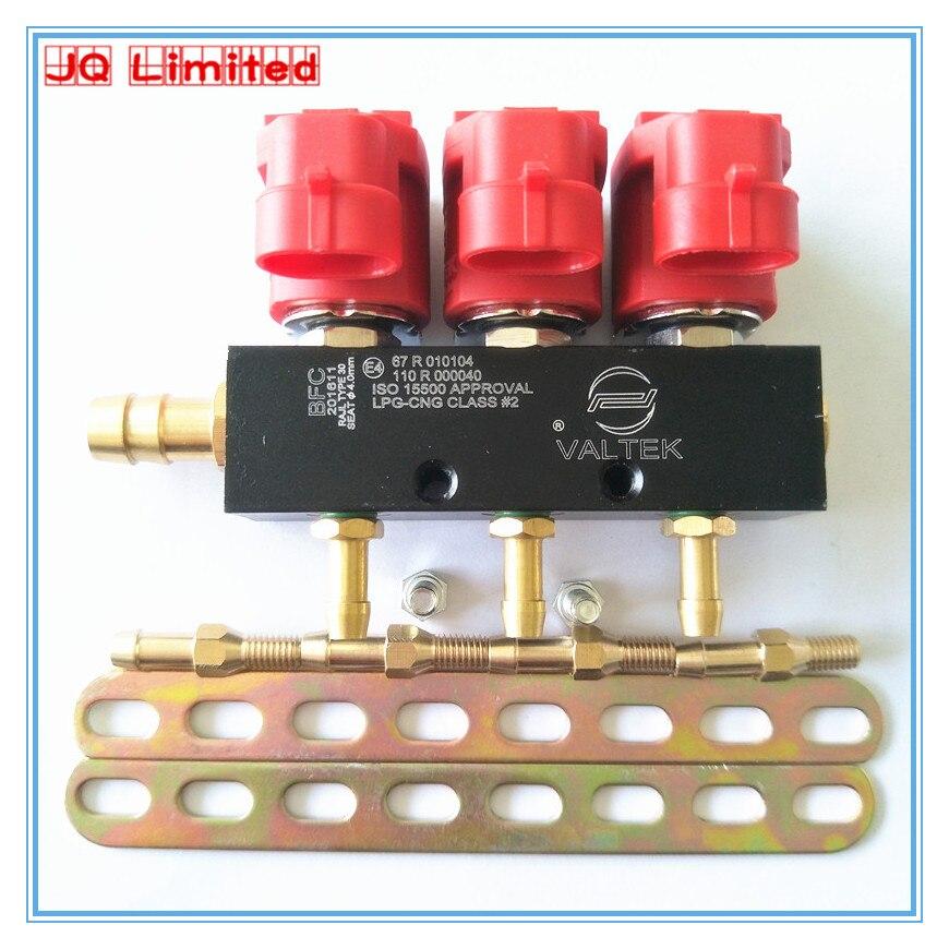Trilho silencioso de alta velocidade do injetor de 3 ohms para o sistema de gás do gpl cng para o carro 3 kits do cilindro trilho comum do injetor e acessórios