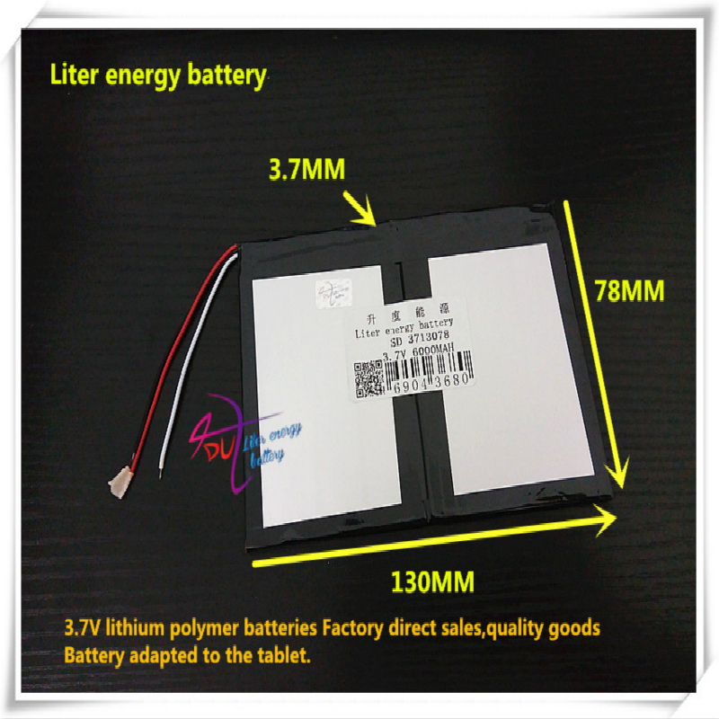 <font><b>3.7V</b></font> <font><b>6000mAH</b></font> 3713078 <font><b>Polymer</b></font> <font><b>lithium</b></font> ion / Li-ion <font><b>battery</b></font> for <font><b>tablet</b></font> pc cell phone speaker image