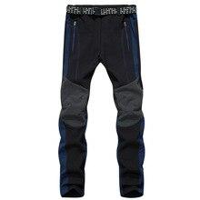 Winter outdoor hiking pants men's solft shell pants trekking pants waterproof men thicken fleece camping trousers