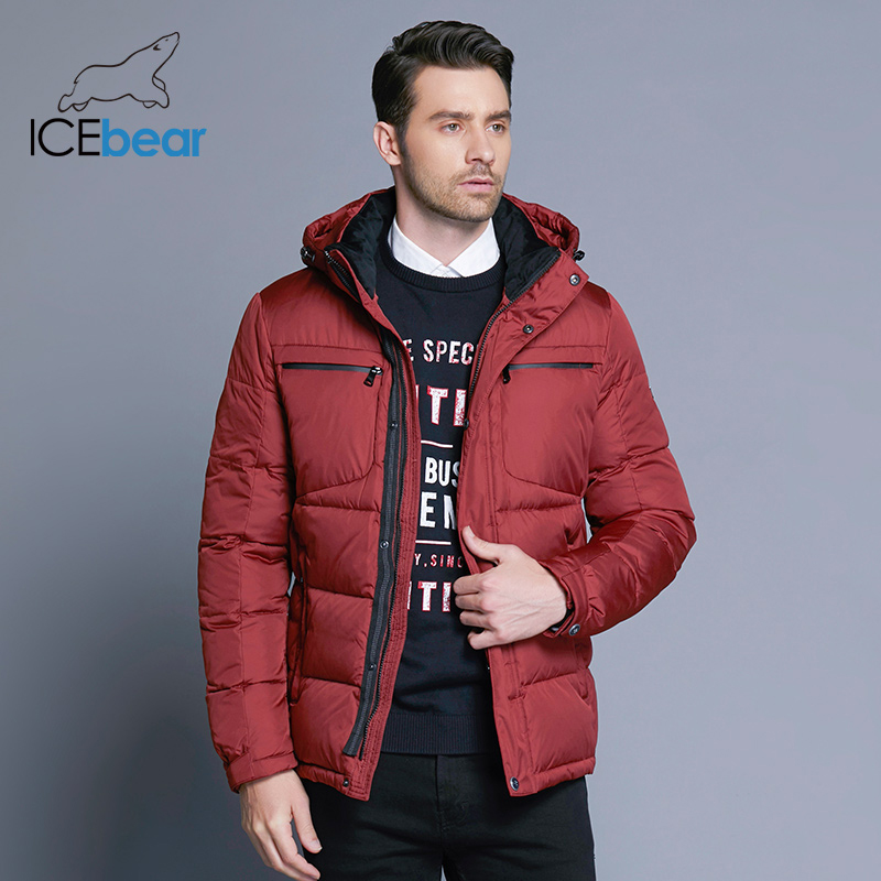 ICEbear 2018 Mens Winter Solid Parka Warm Jackets Simple Hem Practical Waterproof Zipper Pocket High Quality Parka B17MD940D(China)