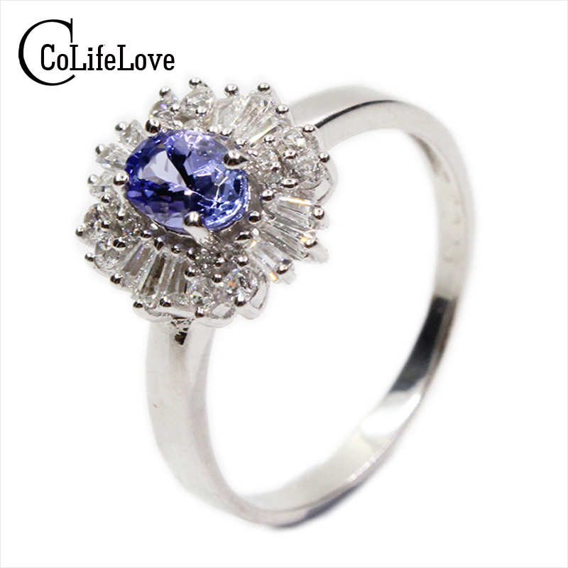 Vintage Engagement Wedding Ring For Woman Genuine Blue Tanzanite Ring Real 925 Solid Sterling Silver Jewelry Ring For Lady