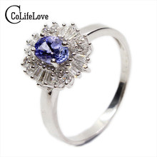 37922a653225 Vintage anillo de compromiso para mujer genuino azul tanzanita anillo real  925 joyería sólida de la plata esterlina para la seño.