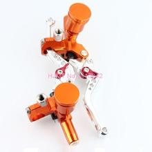 Cnc Motorcycle Handle Bars Brake Levers Clutch Aluminum Alloy Universal Orange MT-6570